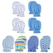 Luvable Friends Baby Scratch Mittens, Blue Chevron 8pk, 0-6 Months