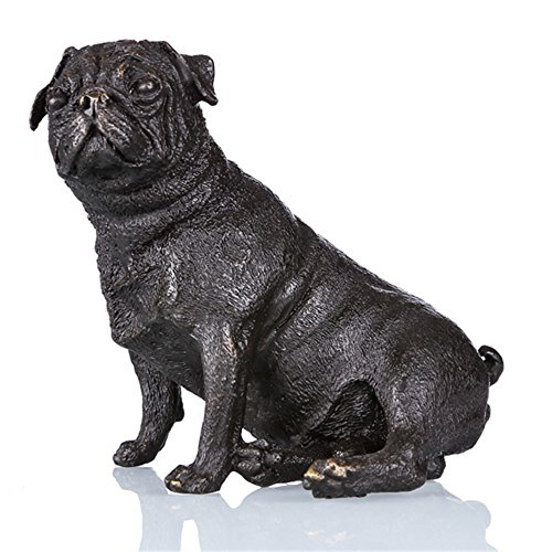 Toperkin Bronze Statues Animal Sculptures Pug Dog Figurine Hand-made Desk Decor (Bronze Dog Statues)