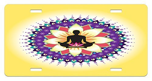 zaeshe3536658 Yoga License Plate, Round Circle Icon for Yoga Lotus Sitting Posture PeacefuMind Workout Print, High Gloss Aluminum Novelty Plate, 6 X 12 Inches, YelloPurple Black by zaeshe3536658