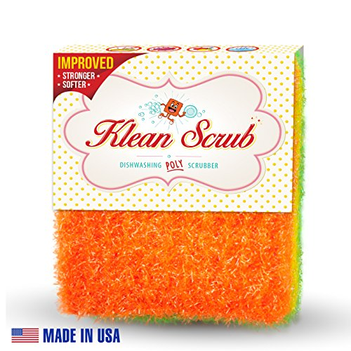 THE BEST Dishwashing LARGE Poly Scrubber- Klean Scrub Non Scratch No Bacteria Quick Dry Non Shredding Dish Sponge - Lasts 4 Times Longer Than Your Scour Pad - Better Hand Grip Pack of 3 Sponge Scrubs ()