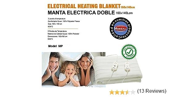MANTA ELECTRICA DOBLE 160X140CM 3 NIVELES DE TEMPERATURA en Rebaja: Amazon.es: Hogar