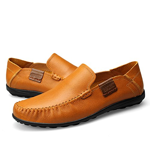 rismart Mens Soft Genuine Leather Casual Loafer Flats Super Comfort Leather Slip-ONS Tan 9953 US8.5 wERPrXjD