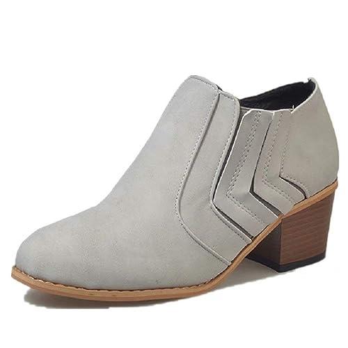 7228b005 Botines Mujer Tacón Medio, Chelsea Piel Elásticos 5 Cm Zapatos De Botas  Comodos Fiesta Vintage Negro Gris Marrón 35-43: Amazon.es: Zapatos y  complementos