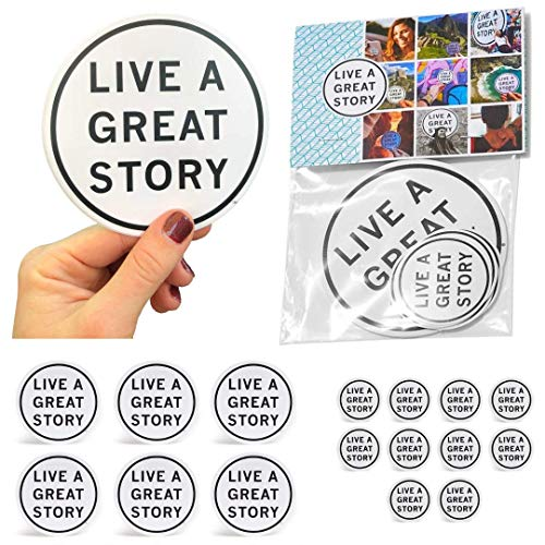 - LIVE A GREAT STORY Sticker Pack - Cool Stickers for Water Bottles - Motivational Planner Stickers - Inspirational Phone Stickers - 16 Motivational Stickers - Car Sticker - Stickers for Teachers
