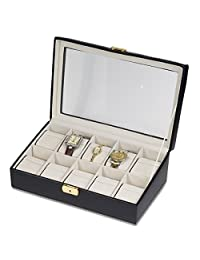 Elegant Calfskin Leather Watch Box and Display Case w/ Glass Top and Lock Holds and Protects 10 Watches