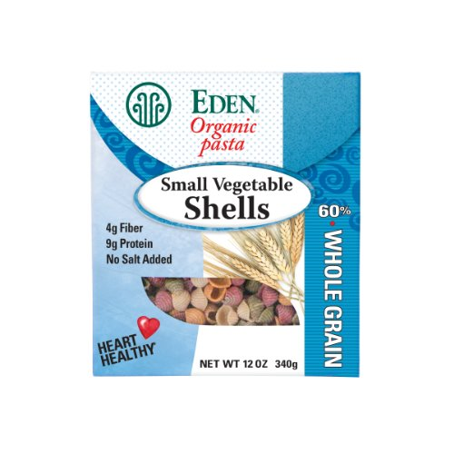 Eden Organic Flour - Eden Organic Small Vegetable Shells, 60% Whole Grain, 12-Ounce Boxes (Pack of 6)