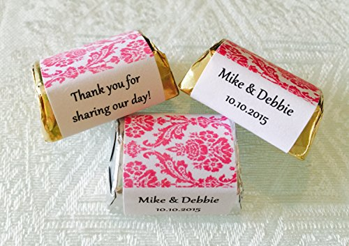 210 HOT PINK DAMASK PATTERN Wedding Candy wrappers/stickers/labels for HERSHEY NUGGETS (Personalized -