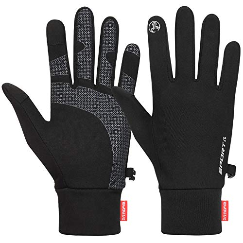 Cevapro Running Gloves Touch Screen Gloves Lightweight Winter Gloves Men Women (Black, XL)