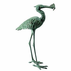 SPI Home 50606 Garden Single Crane Eating Fish Sculpture