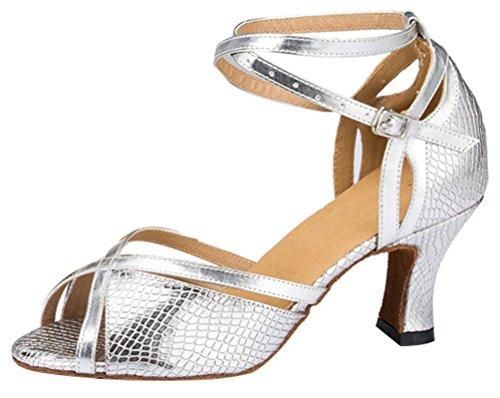 Outdoor Womens Peep Block Soft Salsa 8011 Chacha Modern Comfy Silvery Heel Rumba Sole Ankle Sole Dance Elegant Ballroom Toe PU Snake Shoes Wrap Skin Leisure Lissom Latin CFP Yxq5RF5