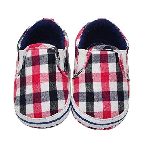 Voberry® Newborn Baby Canvas Grid Soft Sole Infant Prewalker Toddler Shoes (6~12 Month, Red )