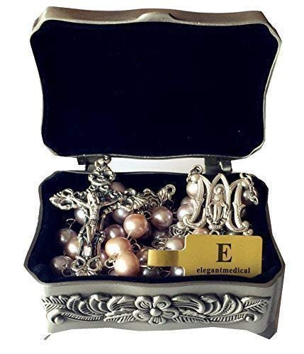 elegantmedical Catholic AAA 8-9mm Real Pearl Pearls Silver Rose Beads Rosary Cross Necklace Box by elegantmedical