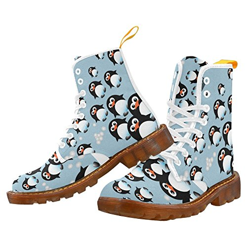 Interestprint Whale Print Snörning Boots Skor Mode För Kvinnor Penguins2