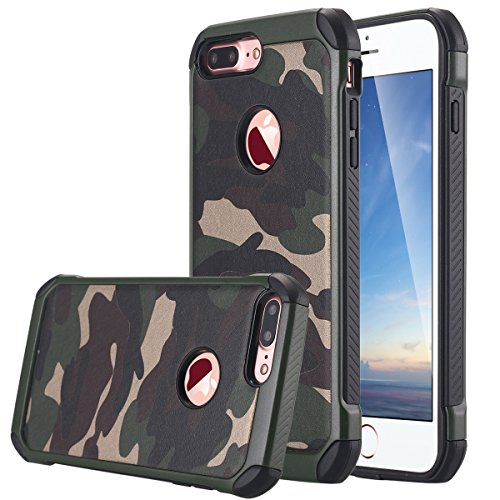 LONTECT iPhone 8 Plus Case, iPhone 7 Plus Case, Camo Series Hybrid High Impact Shock Absorption Dual Layer Army Camouflage Armor Case Cover for iPhone 8 Plus/iPhone 7 Plus, Camouflage Green
