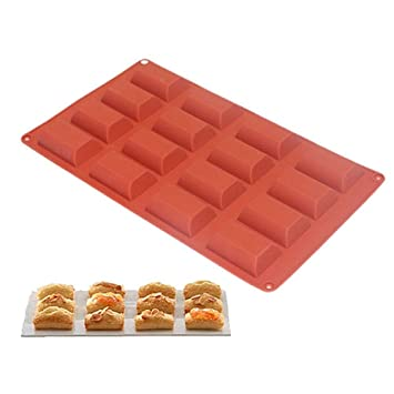 Nueva llegada 16-cavity Petite molde rectangular Molde de silicona Brownie molde para muffin,