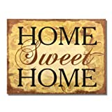 """Adeco Decorative Wood Wall Hanging Sign Plaque """"Home Sweet Home"""" Brown Gold Home Decor - 14.2x10.7 Inches"""