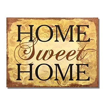 Beau Adeco Decorative Wood Wall Hanging Sign Plaque U0026quot;Home Sweet Homeu0026quot;  Brown Gold Home