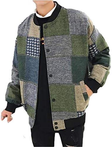 [ダーセン] メンズ ラシャジャケット 冬服 ふわふわ 暖かい 秋冬 プリント スプライス トップス カーディガン クルーネック おしゃれ トレンド 通勤 パーティー 大きいサイズ