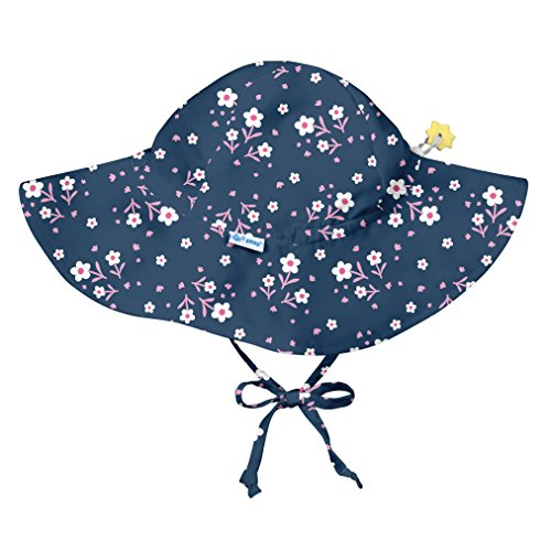 i play. Baby Girls Brim Sun Protection Hat, Navy Posies, 9/18mo