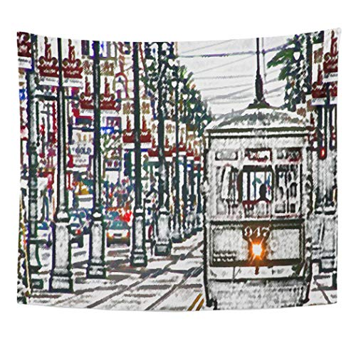 Semtomn Tapestry Artwork Wall Hanging Sketch Urban Orleans La Streetcar Nola Mardi Gras Carnival 60x80 Inches Tapestries Mattress Tablecloth Curtain Home Decor Print]()