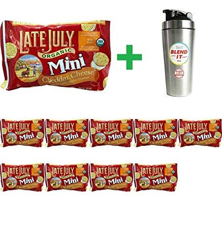 - Late July Snacks Organic Bite Size Sandwich Crackers Cheddar Cheese - 1.12 oz (10 pack) + New Wave Enviro Stainless Steel 25 oz Shaker Bottle w/Blender Cap - 1 Bottle