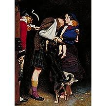 A Ordem de Soltura Esposa de Rebelde Soldado Escocês Preso na Cadeia Entrega Ordem de Libertação ao Carcereiro 1852 Pintura de John Everett Millais na Tela em Vários Tamanhos (55 cm X 40 cm tamanho da imagem)