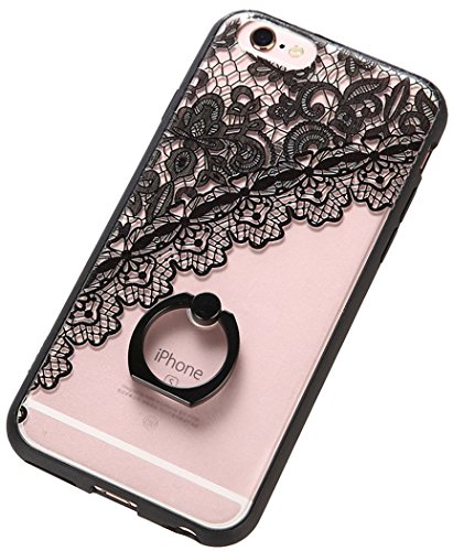Bangcool iPhone 6 Plus 6S Plus Case Protective Phone Case with Enchased Lace Pattern Ring Buckle Support for 6.5-inch iPhone6 plus, iPhone6S plus (black lace)