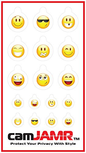 Webcam Cover / Stickers for Online Privacy. Fits Laptop, Tablet, Cell Phone, Smart Tv, Xbox and More! camJAMR Smiley Pack (Includes 17 Webcam Covers)