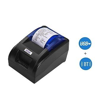 Impresora térmica de Recibos de 58 mm con Interfaz BT y USB Impresión Clara de Tickets de facturas de Alta Velocidad Compatible con los comandos ...