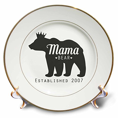 3dRose Janna Salak Designs Text Art - Mama Bear Established 2007 - 8 inch Porcelain Plate (cp_266132_1)