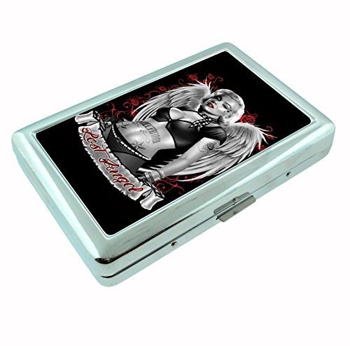 Marilyn Monroe Lost Angel Sexy Tattooed Vintage Metal Silver Cigarette Case Holder Box Smoking (Case Cigarette Angel)