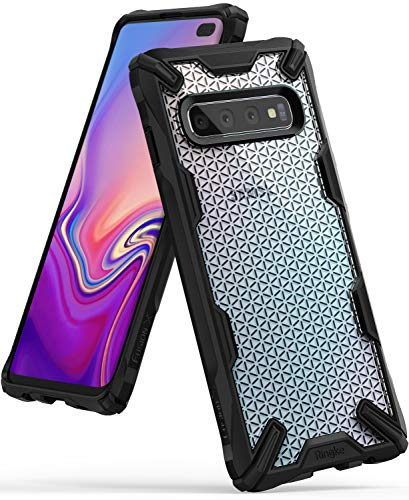 Ringke Fusion X Design DDP Compatible with Galaxy S10 Plus Case Semi-Opaque PC Back with TPU Bumper Stylish Protection Cover for Galaxy S10 Plus (2019) - Hexagon Black