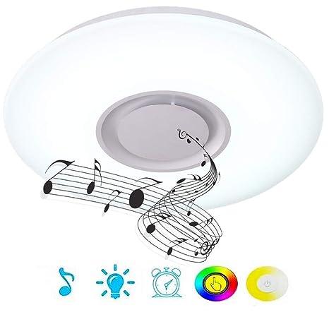 HOREVO 36W luz de techo LED Hemlo con mando a distancia con altavoz Bluetooth. colores diferente Lámpara Luz Cool Blanco Calido Ajustable, Moderna ...