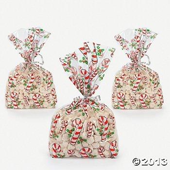 Candy Cane Cellophane Bags (24 pc)