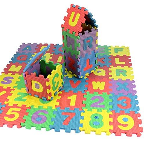 36Pices EVA Alphabet & Number Puzzle Floor Play Mat for Children & Toddler Size 12CMx12CMx0.8CM/PCS Unfolded 66CMx66CM Total
