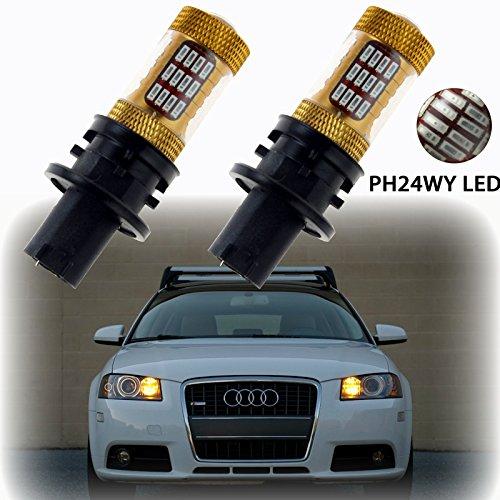 2x Error Free PH24WY Gold Amber LED Bulbs Turn Signal Lights for Audi Cadillac GMC Porsche 911 etc