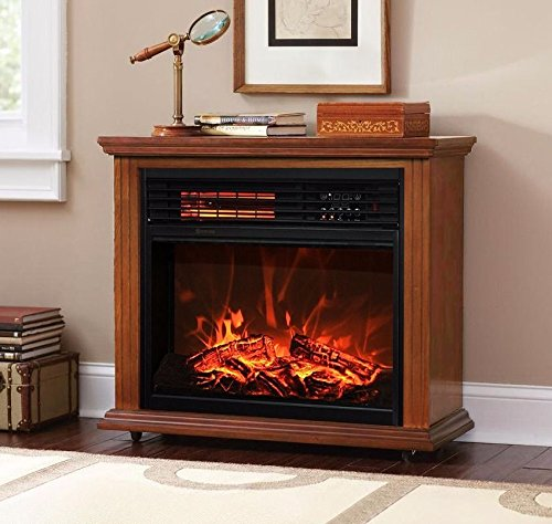 Honey Oak Large Room Electric Quartz Infrared Fireplace Heater Deluxe Mantel Oak Remote - Where I Find Fake Glasses Can