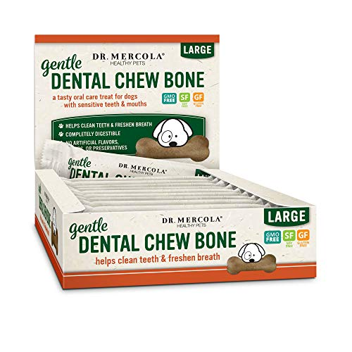 Dr. Mercola Gentle Dental Chew Bones Large, 12 Bones, Non GMO, Gluyen Free, Soy Free