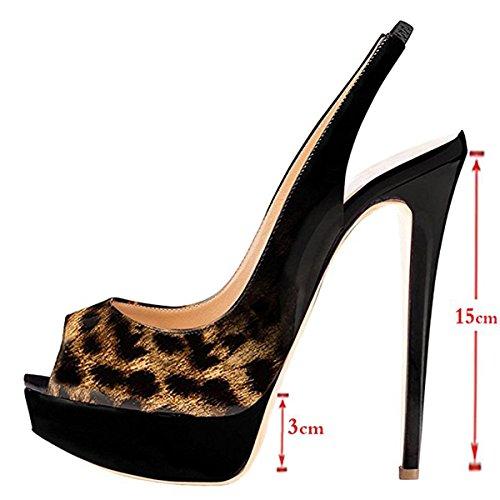 Chris-T Womens Fashion Slingback Thin High Heels Platform Pumps Black-leopard Bo17Deov