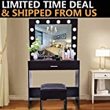 Riforla  Lighted Makeup Vanity Mirror Light,Makeup Dressing Table Vanity Set Mirrors with Dimmer,Tabletop or Wall Mounted Vanity with Mirror and Stool,12 LED Light Flexible LED Light, DIY Mirror