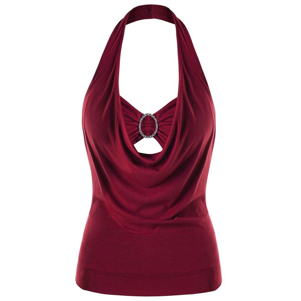 OTINICE Women Halter Tank Tops Plus Size Solid Sleeveless Summer Fashion Shirts for Women Wine