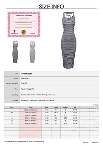 Midi Awesome21 Striped Casual White Women's Dress Stretch Gray Racerback Caged Bodycon Awdmd0119 rCqr0Fp