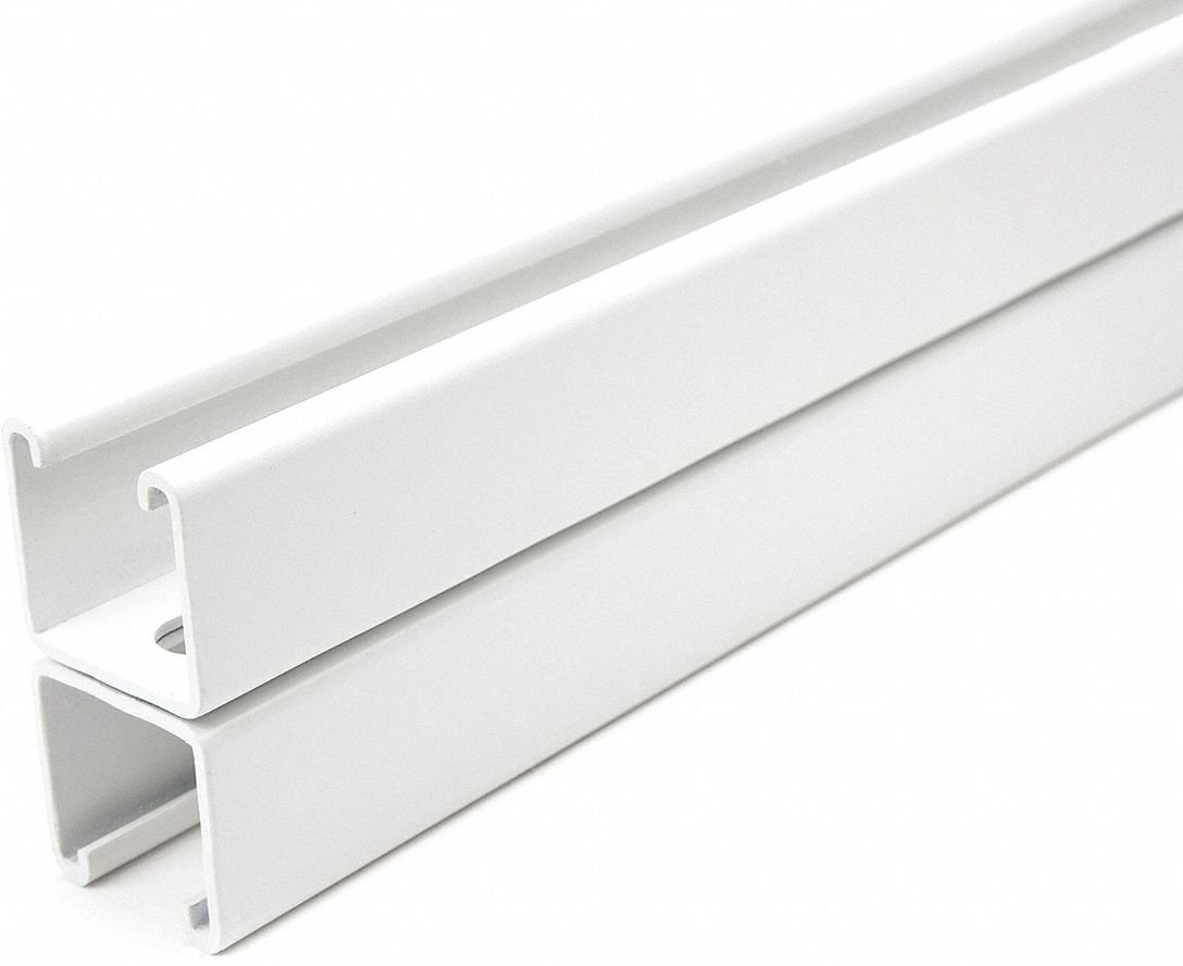 Slotted Back to Back 1-5/8 x 3-1/4 Strut Channel, White Painted Steel, 12 ga, 2 ft.