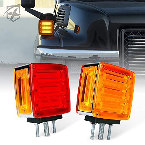Xprite COB Truck Trailer Fender Pedestal Signal Lights, Pillar Series Square Dual Face Amber LED Turn Signal Marker Light Red Brake Stop Tail Lamps for Tractors, Semi-Trailers, Dump Truck, Lorry, Van