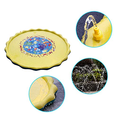 Tharv❤Kids Water Sprinkle and Pad Play Mat Diameter Sprinkle Play Mat Yellow