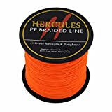 Hercules 100m 109yds Orange 6lbs-100lbs Pe Dyneema Braided Fishing Line 4 Strands (100lb/45.4kg 0.55mm)