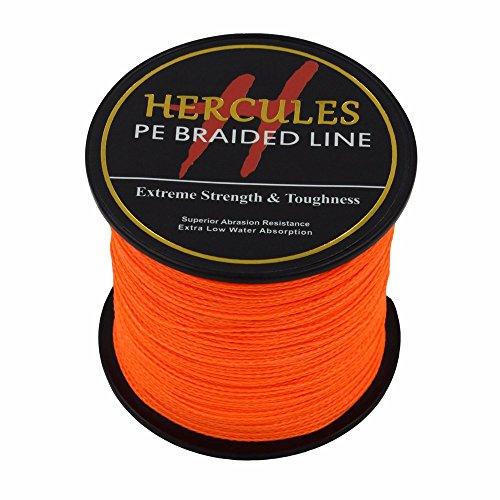 Hercules 100m 109yds Orange 6lbs-100lbs Pe Dyneema Braided Fishing Line 4 Strands (100lb/45.4kg 0.55mm)