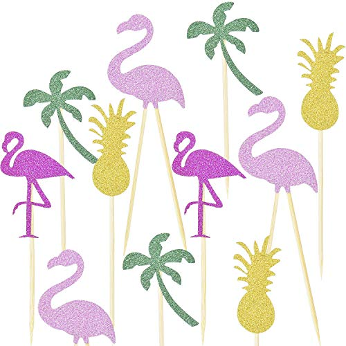 Luau Party Picks - TecUnite 48 Pieces Cake Toppers Pineapple Flamingo Coconut Palm Shape Glitter Cupcake Picks Hawaii Luau Party Cake Decorations