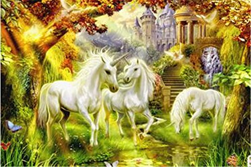 Yobooom Wood Jigsaw Puzzle 1000 Pieces for Adults Nature Intellectual Toys - Unicorn Paradise
