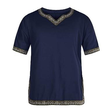 Bestow Camisa de Manga Corta con Estampado étnico, Estampado étnico, Estilo Vintage, para